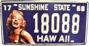 AMERICAN STYLE TIN NUMBER PLATE HAWAII - MARILYN MONROE  SUNSHINE STATE 68  NP08
