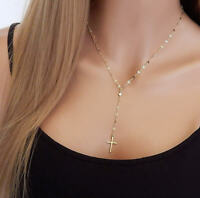 Simple Y Necklace with Cross Lariat Necklace