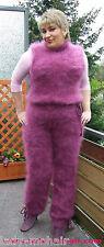 Langhaar Mohair fuzzy  sweater Catsuit rose- lila  M-XL handknitted