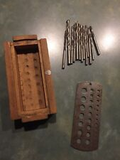 VINTAGE TWIX JOBBERS DRILL GAGE AND 13 MISC. DRILL BITS WITH HAND MADE BOX...USA