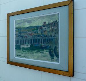 Tableau huile sur carton sous verre signé R RODRIGUE, Dieppe vue sur la gare