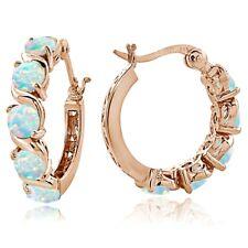 Rose Gold Tone over Sterling Silver White Opal S Design Hoop Earrings