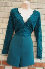 NEW LOOK JADE GREEN LACE LONG SLEEVE V NECK FIT SEXY PARTY ROMPER PLAYSUIT 18