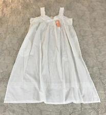 NEW La Cera 100% Cotton Sleeveless Floral Lace Yoke Chemise Gown Sz L