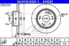 2x Bremsscheibe für Bremsanlage Hinterachse ATE 24.0110-0321.1