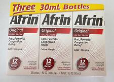3 Nasal Spray- Afrin Original Decongestant Congestion Allergy Relief 3 x 1 fl.oz