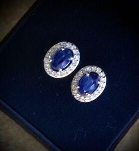 NEW Natural Blue Kyanite & White Zircon Dark Moon Filigree Platinum Stud Earring