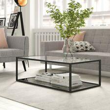 Glass Coffee Table Furniture Living Room Modern Black Metal Frame Storage Shelf