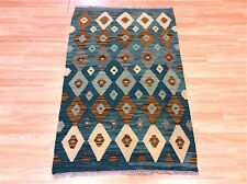 GENUINE Afghan Handmade Tribal SOFT BROWN & BLUE Wool Kilim Rug 81x129cm -50%OFF