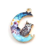 10 PCs Alloy Galaxy Charms Pendant Jewelry Findings Gold Half Moon Owl Enamel