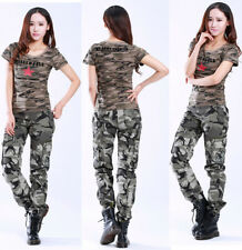 Ladies Womens Military Army Green & Gray Camo Pants Cargo Combat Trousers #8687