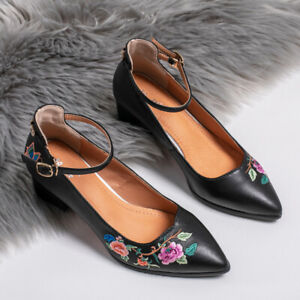 Women's Ethnic Style Embroidered Leather Shoes Lady Pointed Buckle High Heels