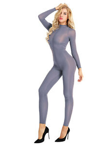 Smooth Sheer Long Sleeve Crotchless Jumpsuit Bodystocking Lingerie Adult Women
