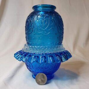 BEAUTIFUL BLUE RARE FENTON FAIRY LAMP  PERSIAN MEDALLON