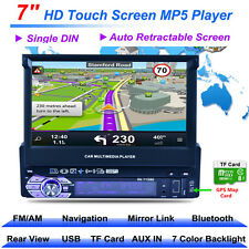 "1DIN 7"" HD Touch Screen Car MP5 Player Bluetooth FM GPS Navigation+8GB Map Card"