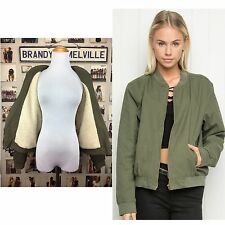 New! Brandy Melville Army Green Faux Fur Cotton kasey bomber jacket Zip Up NWT