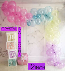 CLEAR SEE THROUGH Colour Latex BALLOONS 12inch 45cm Large Helium Quality Wedding