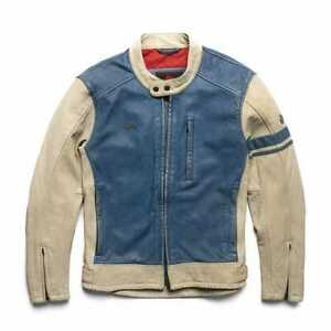 """New Launched Royal Enfield """"AIRBORNE"""" Leather Jacket - White & Blue"""