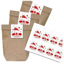 8 DIY Geschenktüten braun Aufkleber Weihnachten Papiertüten Wichteln einpacken