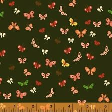 """Windham Fabrics Tiger Lily Heather Ross #40933 Black Butterfly 1/2 Yd  44"""" #8197"""