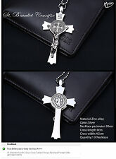St. Benedict Crucifix Jesus Cross Catholic Rosary Necklace Pendant Gifts