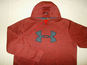 UNDER ARMOUR STORM 1 RED & BLACK HEATHER HOODED SWEATSHIRT MENS XL EXCELLENT