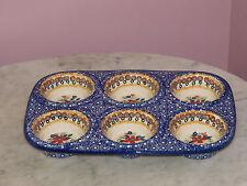Polish Pottery UNIKAT Muffin Pan! Rembrandt Pattern!