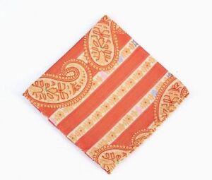 Lord R Colton Masterworks Pocket Square - Sannibel Orange Stripe Silk - New