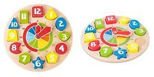 Orologio, puzzle in legno incastro, per imparare numeri e ore, diametro cm 21,5
