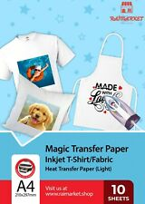 More details for 10x a4 iron on t shirt transfer paper for light fabric heat press inkjet printer