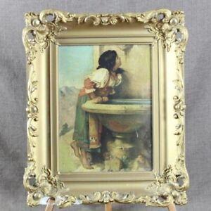 Antique Ornate Gesso Gilt Frame with Roman Girl at a Fountain Print, Leon Bonnat