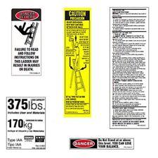 (6 pack) Werner LFS100-375 Fiberglass Step Ladder Safety Labels - 375lb Capacity
