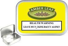 Hinged Amber Leaf Warning Silver 1oz Tobacco Tin, 50ml Stash Can,Pocket tin,Pill