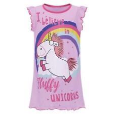 Girl's Kid's Unicorn Nightie 'I Believe In Fluffy Unicorns' Work Pink Nightdress