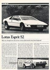 1980 Lotus Esprit S2  Road Test Original Car Review Report Print Article J808