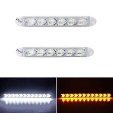 2X LED White/Amber Switchback Flexible Flow Turn Signal Arrow Flasher DRL Light