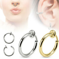 2 Pc Spring Action Titanium IP Surgical Steel Non Piercing Septum Ear Nose Hoop