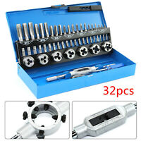 32PC TAP AND DIE SET METRIC WRENCH CUTS M3-M12 BOLTS HARD CASE ENGINEERS KIT