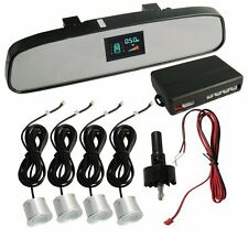 Silver Car VFD Talking Reverse Parking Sensor Rear View Mirror Display Ford Figo