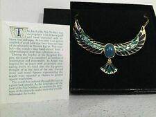 Franklin Mint Jewel Of The Nile Scarab Necklace Vintage 22K GP Blue Onyx Choker
