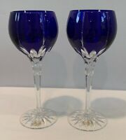 VTG Set of 2 Ajka Crystal Albinka Wine Hock Glasses Cobalt Blue Cut Clear 8-1/8""