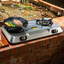 xpusa Stainless Steel Portable Propane Lpg Gas Stove Double 2 Burner Cook Top