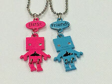 Best Friend Robot with Whale Tail on Belly 2 Pendant 2 Necklace Pink / Teal BFF