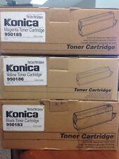 **NIB**LOT OF 3** KONICA Toner Cartridge Black 950183 Yellow+ Magenta, free ship