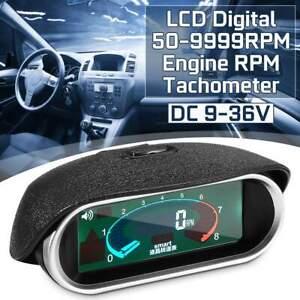 Car Universal LCD Tachometer Digital Engine Tach Gauge Boat Truck Van 50~9999RPM
