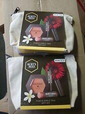 e 2 bag set BURT'S BEES PURE & SIMPLE TRIO GIFT SET blush lip balm mascara