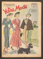 'VOTRE MODE' FRENCH VINTAGE NEWSPAPER 3 FEBRUARY 1949