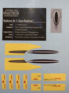 Custom Replacement Stickers for Star Wars UCS Naboo Starfighter 10026