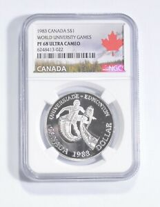 PF68 UCAM 1983 Canada $1 Silver - World University Games - Graded NGC *097