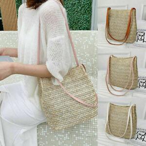Ladies Bohemia Straw Bag Woven Round Rattan Handbag Crossbody Summer Beach Bags